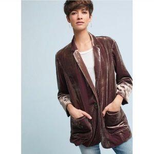 Anthropologie Iridescent Velvet Jacket NWT M